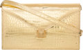 "Luxury Accessories:Bags, Lana Marks Metallic Gold Crocodile Shoulder Bag. Very GoodCondition. 10"" Width x 6"" Height x 2.75"" Depth. ..."