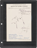 Explorers:Space Exploration, Alexei Leonov Signed 1967-Dated Seagulls Sketch. ...
