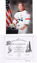 """Autographs:Celebrities, Dave Scott Signed Grumman """"Lunar Module Pioneer"""" Certificate with White Spacesuit Color Photo and Aurora COA.... (Total: 2 )"""