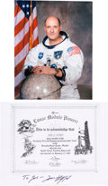"Autographs:Celebrities, Tom Stafford Signed Grumman ""Lunar Module Pioneer"" Certificate with White Spacesuit Color Photo. ..."