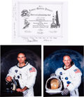 "Autographs:Celebrities, Buzz Aldrin and Michael Collins Signed Grumman ""Lunar ModulePioneer"" Certificate with White Spacesuit Color Photos andNovasp..."