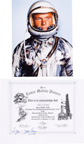 "Autographs:Celebrities, John Glenn Signed Grumman ""Lunar Module Pioneer"" Certificate withSilver Spacesuit Color Photo. ..."