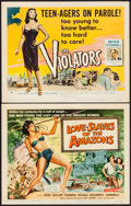 "Movie Posters:Adventure, Love Slaves of the Amazons & Other Lot (UniversalInternational, 1957). Title Lobby Cards (2) (11"" X 14"").Adventure.. ... (Total: 2 Items)"