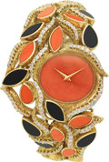 Estate Jewelry:Watches, Piaget Lady's Diamond, Coral, Black Onyx, Gold Watch. ...