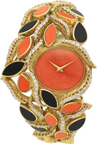 Piaget Lady's Diamond, Coral, Black Onyx, Gold Watch