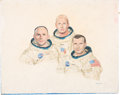 Explorers:Space Exploration, Apollo 12 Crew Original Painting by NASA Staff Artist RaymondBruneau. ...