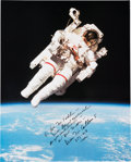 Autographs:Celebrities, Bruce McCandless II Signed Large STS-41-B Untethered Spacewalk Color Photo....