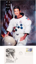 Autographs:Celebrities, Jim Irwin Signed Space-Related First Day Cover with White SpacesuitColor Photo....