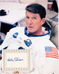 Autographs:Celebrities, Wally Schirra Signed Bookplate with White Spacesuit Color Photo.... (Total: 2 )