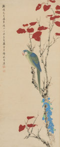 Works on Paper, Sun Yunsheng (Chinese, 1918-2000). Parrot, 1967. Hanging scroll, ink and color on paper. 70 x 18-1/2 inches (177.8 x 47....