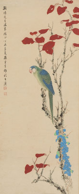 Sun Yunsheng (Chinese, 1918-2000) Parrot, 1967 Hanging scroll, ink and color on paper 70 x 18-1/2