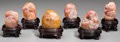 Asian:Chinese, A Group of Six Chinese Shoushan Stone Carvings with Stands,Republic Period, circa 1912-1949. 1-5/8 inches high (4.1 cm) (la...(Total: 6 Items)