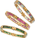 Estate Jewelry:Bracelets, Multi-Stone, Gold Bracelets, Bvlgari. ... (Total: 3 Items)