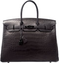 Luxury Accessories:Bags, Hermes Limited Edition 35cm Matte So Black Alligator Birkin Bagwith PVD Hardware. N Square, 2010. Excellent toPristi...