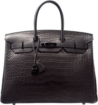 Hermes Limited Edition 35cm Matte So Black Alligator Birkin Bag with PVD Hardware N Square, 2010