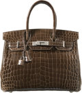 Luxury Accessories:Bags, Hermes 30cm Shiny Gris Elephant Nilo Crocodile Birkin Bag withPalladium Hardware. N Square, 2010. Excellent toPristi...