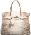 Luxury Accessories:Bags, Hermes 30cm Matte White Himalayan Nilo Crocodile Birkin Bag with Palladium Hardware. N Square, 2010. Very Good Conditi...