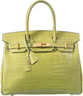 Luxury Accessories:Bags, Hermes 30cm Shiny Vert Anis Porosus Crocodile Birkin Bag with GoldHardware. I Square, 2005. Very Good Condition....