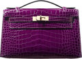 """Luxury Accessories:Bags, Hermes Shiny Cassis Alligator Kelly Pochette Bag with PermabrassHardware. R Square, 2014. Pristine Condition. 8.5"""" Width ..."""
