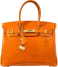 "Luxury Accessories:Bags, Hermes 30cm Shiny Orange H Nilo Crocodile Birkin Bag with GoldHardware. K Square, 2007. Very Good Condition. 12""..."