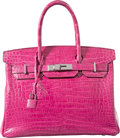 Luxury Accessories:Bags, Hermes 30cm Shiny Fuchsia Porosus Crocodile Birkin Bag withPalladium Hardware. L Square, 2008. Very GoodCondition...