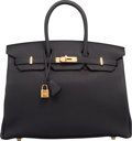 "Luxury Accessories:Bags, Hermes 35cm Black Clemence Leather Birkin Bag with Gold Hardware.T, 2015. Pristine Condition. 14"" Width x 10"" Height x 7""..."