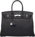 Luxury Accessories:Bags, Hermes Limited Edition 35cm Black & Blue Agate Togo Leather Verso Birkin Bag with Palladium Hardware. X, 2016. Pristin...