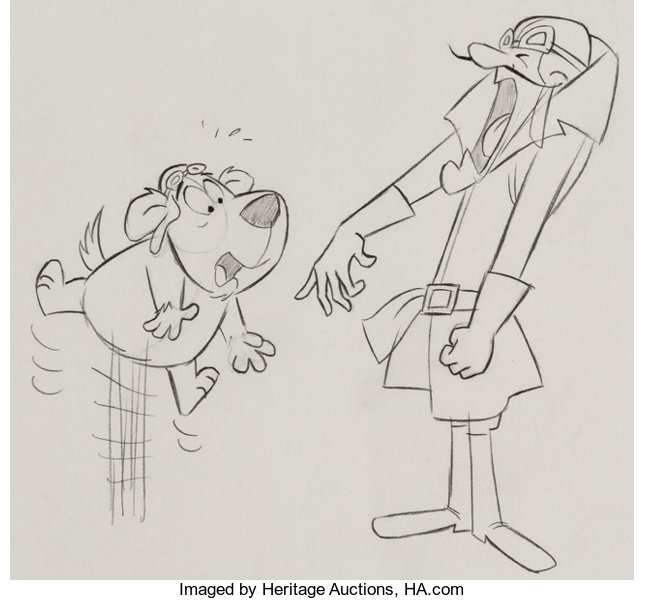 Animation ArtProduction Drawing Dastardly And Muttley In Their Flying Machines LayoutDrawing Group Of