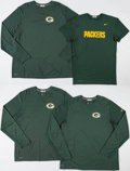 Football Collectibles:Uniforms, Green Bay Packers Practice Worn Shirts (4)....