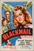 "Movie Posters:Crime, Blackmail (Republic, 1947). One Sheet (27"" X 41""). Crime.. ..."