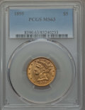 Liberty Half Eagles: , 1895 $5 MS63 PCGS. PCGS Population: (784/215). NGC Census: (1719/569). CDN: $450 Whsle. Bid for problem-free NGC/PCGS MS63....