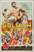 "Movie Posters:Adventure, Goliath and the Barbarians & Other Lot (American International,1959). One Sheet (27"" X 41""). Adventure.. ... (Total: 2 Items)"