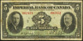 Canadian Currency: , Canada Toronto, ON- Imperial Bank of Canada $5 Jan. 3, 1939 Ch. #375-24-02. ...