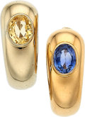 Estate Jewelry:Earrings, Sapphire, Gold Earrings, Poiray, French. ... (Total: 2 Items)