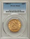 Liberty Eagles: , 1885-S $10 MS62 PCGS. PCGS Population: (285/118). NGC Census: (243/57). CDN: $750 Whsle. Bid for problem-free NGC/PCGS MS62...