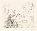 Prints:European Modern, Pablo Picasso (1881-1973). Artist and Nude Equestrienne EatingGrapes, from Séries 156, 1970. Etching on wove paper...