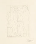 Prints:Contemporary, Pablo Picasso (1881-1973). Deux hommes sculptés, pl. 52,from La Suite Vollard, 1933. Etching on Montval laidpaper...