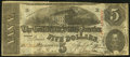 Confederate Notes:1863 Issues, Fricke Rarity 13+ (Excessively Rare) T60 $5 1863 PF-18 Cr. UNL withremnants of Cogswell imprint at far left.. ...