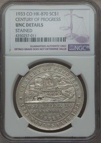 1933 Century of Progress Colorado So-Called Dollar -- Stained -- NGC Details. UNC Details. HK-870