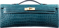 Hermes Shiny Colvert Porosus Crocodile Kelly Cut Clutch Bag with Gold Hardware T, 2015 Pristine C