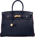 Luxury Accessories:Bags, Hermes Special Order Horseshoe 35cm Indigo & Rouge Casaque TogoLeather Birkin Bag with Gold Hardware. Q Square, 2013.Exc...