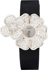 "Chanel Diamond & 18K White Gold Secret Camellia Watch Pristine Condition 1.5"" Width x"