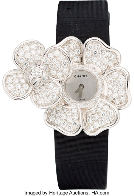 "Chanel Diamond & 18K White Gold Secret Camellia Watch Pristine Condition 1.5"" Width x 6"" Length ..."