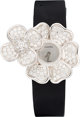 "Chanel Diamond & 18K White Gold Secret Camellia Watch Pristine Condition 1.5"" Width x 6"" Length"