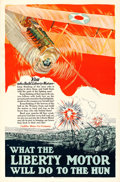 "Movie Posters:War, World War I Propaganda (Cadillac Motor Car Company, c. 1917).Poster (25"" X 38"") ""What the Liberty Motor Will do to the Hun...."