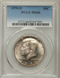 Kennedy Half Dollars, 1970-D 50C MS66 PCGS. PCGS Population: (536/14). NGC Census:(142/7). Mintage 2,150,000. ...
