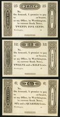Obsoletes By State:Ohio, Worthington, OH- (Ezra Griswold) 6-1/4¢; 12-1/2¢; 25¢ 18__Remainders. ... (Total: 3 notes)