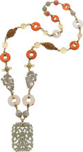 Estate Jewelry:Necklaces, Multi-Stone, Gold Necklace. ...