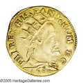 Italy: , Italy: Milan. Philip II of Spain gold Doppia 1588, Friedberg 716,nice VF-XF, slightly double-struck obverse legends and two vague...