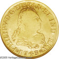 Mexico: , Mexico: Felipe V gold 4 Escudos 1743Mo-MF, KM135, Fine 15 NGC, anattractive coin for the grade. The obverse is weakly struckcreati...